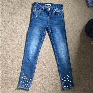 Zara Pearl Accent Skinny Ankle Jeans